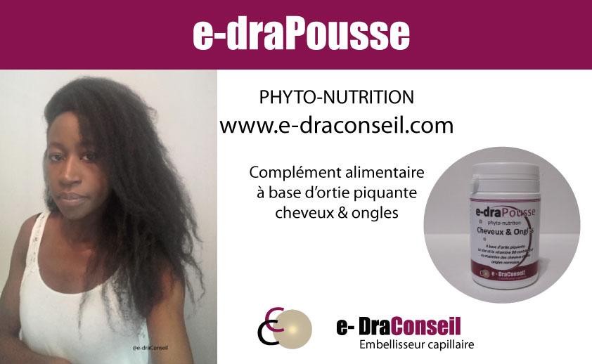 e-draPousse : Complément alimentaire pour fortifier et favoriser la pousse des cheveux et des ongles